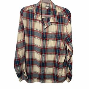 Woolrich Men Plaid Long Sleeve Shirt Button Down L